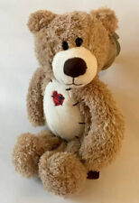 First & Main Tender Teddy Brown Bear Hand Crafted Plush Patchwork Heart 12""
