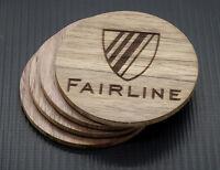 4x Fairline solid wood Walnut drinks coasters matt - customise / personlise