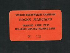 EXTREMELY RARE ROCKY MARCIANO Training Camp pass boxing ticket HOLLAND FURNACE