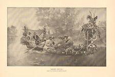 Harvest Festival by Maurice Leloir, Boat Ride, Music, Vintage 1888 Antique Print
