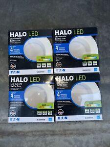 """4x EATON Halo 4"""" LED Retrofit Baffle Trim 3000K RL460WH930 Rated Wet Location"""