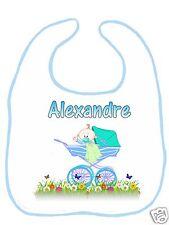 Bavoir bébé blanc bordure bleue réf G02 personnalisé avec prénom
