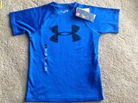 NEW UNDER ARMOUR BOYS S 7 8 SHORT SLV ATHLETIC BLUE SHIRT MOISTURE WICK DRI NWT