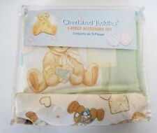 Vtg New Cherished Teddies 3 Pc Crib Set Flannel Blanket Dust Ruffle Diaper Stack