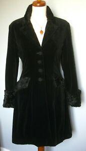 MONSOON TWILIGHT FROCK COAT victorian black velvet collar cuffs fit flare UK8 10