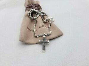 David Yurman Men's Sterling Silver Small Sky Cross Pendant & 2.7mm Box Chain 22'