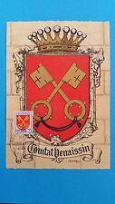 FRANCE CARTE MAXIMUM YVERT 1047 ARMOIRIE COMTAT VENAISIN 1F CARPENTRAS 1955 L489