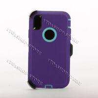 iPhone XR Defender Shockproof Hard Case w/Holster Belt Clip (Purple/Teal Blue)