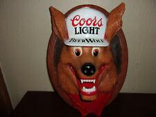 Vintage 1987 Coors Light 3D Beer Wolf Hanging Bar Sign