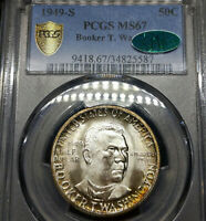 1949-S MS67 CAC Booker T Washington, Silver Commemorative 50c, PCGS Graded!