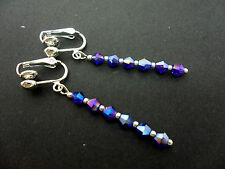 A PAIR OF BLUE CRYSTAL GLASS BEAD  SILVER  PLATED CLIP ON DROP EARRINGS. NEW.