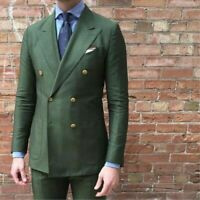 Army Green Groom Wedding Tuxedo Double Breasted Linen Formal Prom Party Men Suit