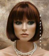 CLASSY Shaort Straight Auburn Red Blond wispy bangs Full WIG WADE 27-30-33