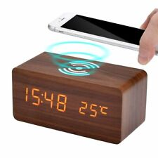 Desktop Digital Clock Led Alarm Clock with Phone Wireless Charger Sound Control