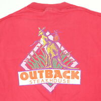Vtg 90s Outback Steakhouse T-Shirt Faded Red Distress USA Single Stitch Grunge