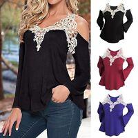 Women V Neck Long Sleeve Off Shoulder Shirt Casual Loose Lace Blouse Top T Shirt