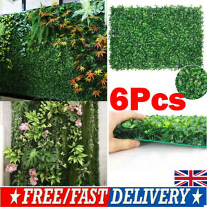 UK Plant Artificial Mat Greenery Wall Hedge Grass Fence Foliage Panel Decor 6Pcs