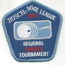 Busch POOL LEAGUE Patch 1991 Regional Singles Tournament