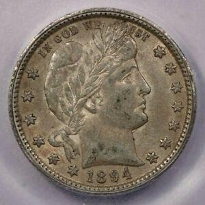 1894-O 1894 Barber Quarter ICG AU53 beautiful original coin!
