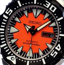 NEW MEN'S 200M SEIKO DIVER'S 24 JEWEL AUTOMATIC MANUAL WIND ORANGE DIAL SRP315J1