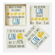 Set of 4 Square Ceramic Gin Coasters Gifts Beverage Novelty Funny Unique White