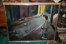 Original Oil Painting-Man Trench Coat Watching Cats Street-Signed-Framed Motion