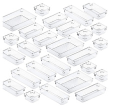 Fixwal 26pcs Clear Drawer Organizers Set 4 Size Drawer Tray Dividers Organizers