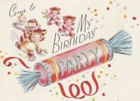 Vintage Birthday Party Invitation Cats Cake Cracker Rust Craft UNUSED Envelope