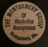 Montgomery Group Alcoholics Anonymous AA Alabama AL Wooden Nickel Token Coin