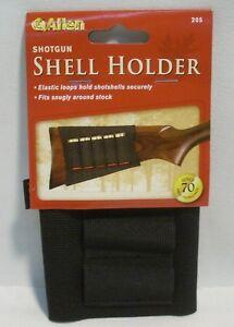 Allen Black Shotgun Shells Buttstock Holder Elastic Loops Fits Snug Holds 5