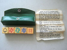 POKER DICE BENNO LONDON 16mm SET OF 5 BAKELITE WITH LEATHER CASE & RULES 1940s