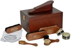 Schuhputzkasten Verona gefüllt mit hochwertiger Lederpflege Schuhputzkiste