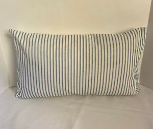 Pillow Cover Ticking Navy and White Fabric Custom Made CHOOSE Size Many Sizes