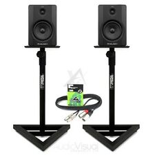 Pair M Audio BX5 D2 Active Studio Powered Monitors inc Monitor Stands & Cables