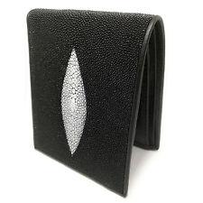 Bifold Stingray Genuine Leather Wallet For Men Basic Style Super Black Color