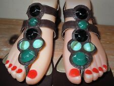 L@@K! WOMENS AUTHENTIC DEXTER GREEN JEWEL BLING STRAPPY SANDALS SHOES BROWN 8 M