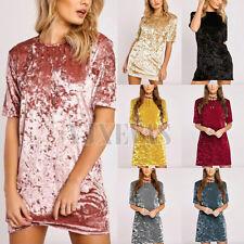 UK Women Fashion Crushed Velvet Mini Dress Ladies Casual Shift Party Dress Tops