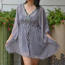 3027 Boho Chiffon Caftan Kaftan Gray Casual Tunic Batwing Kimono Top S M L XL