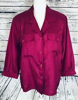 Josephine Women's Medium Blouse Button Down 3/4 Sleeves Fuchsia V Neck Collared