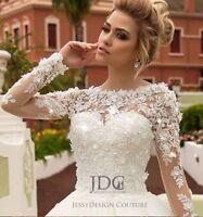 Ivory Spitze Brautkleid Hochzeitskleid Blumenspitze Rückenfrei Kristall Langarm