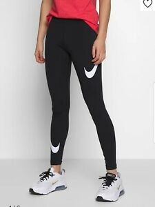 NIKE WOMENS Legasee Swoosh Legging Sportswear Trousers LARGE. Black / White Bnwt
