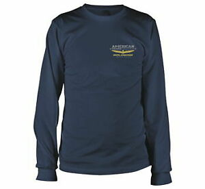 Men's Navy Blue Gold Wing American Touring Collection Long Sleve Tee Size Large