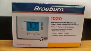 NEW BRAEBURN 1020 1H 1C NON PROGRAMMABLE HORIZONTAL THERMOSTAT AC OR BATTERY