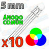 10x Diodo Led RGB 5mm Ultra Brillo 4 pines tricolor anodo comun pin multicolor