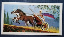 Ancient Greek Three Horse Chariot     Vintage Colour Card  # EXC