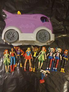 "Lot of 9 DC Super Hero Girls ~ 6"" Figures And Bat-Van ~ Harley Quinn, Super Girl"