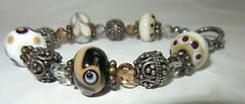 Silver tone Brown/Cream art glass beaded toggle clasp bracelet