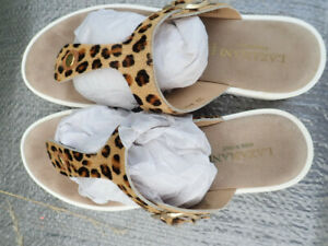 Lazamani Sandaletten beige Braun Dalmatian Leopard Vera pelle GR. 39