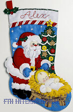 "Bucilla A Time To Believe ~ 18"" Felt Christmas Stocking Kit #86664 Nativity Baby"