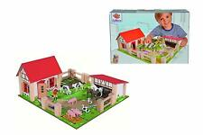 Little Farm WOODEN Buildings Kids Toddler Childrens Toy Play Set Animals Figures